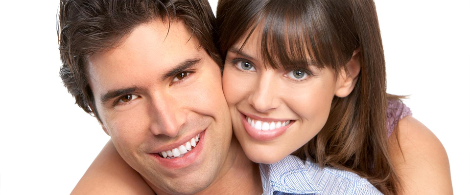 Man and woman smiling together